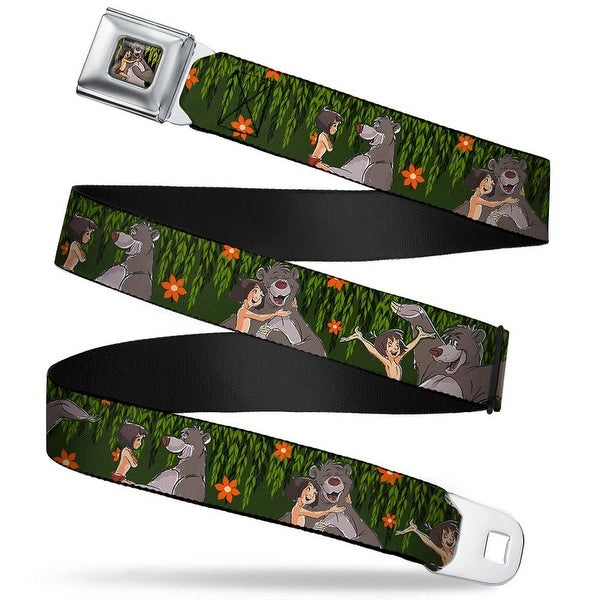 Mowgli & Baloo Hugging Leaves Full Color black Greens Mowgli & Baloo 3 Seatbelt Belt