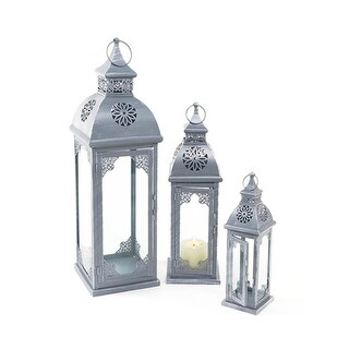 Set of 3 Garden Getaway Ornate Flower Pillar Candle Holder Lanterns