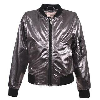 Urban Republic Little Girls Silver Metalic Faux Snakeskin Flight Jacket