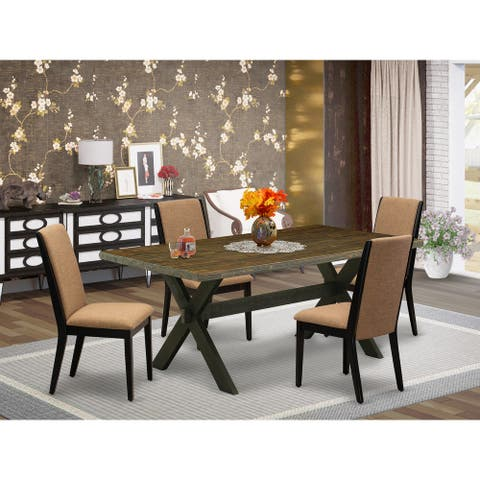Modern Dining Table Set Contains a Kitchen Table and Parson Dining Chairs - Distressed Jacobean (Chairs and Bench Option)