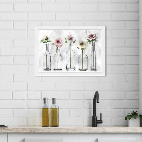 Wynwood Studio 'Anemone Floral' Floral and Botanical Gray Wall Art Framed Print
