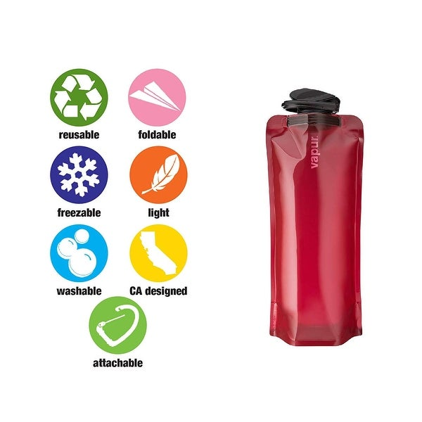 Vapur Eclipse BPA Free Durable Foldable Flexible Water Bottle with Carabiner