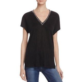 Generation Love Womens Casual Top Linen Embellished