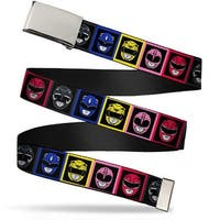 Blank Chrome Buckle Power Rangers Faces Blocks Webbing Web Belt