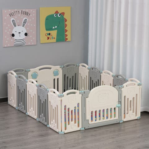 Qaba Indoor Safety Childrens Baby Playpen with Game Piece, Opening Gate & Flexible Design for Peace of Mind