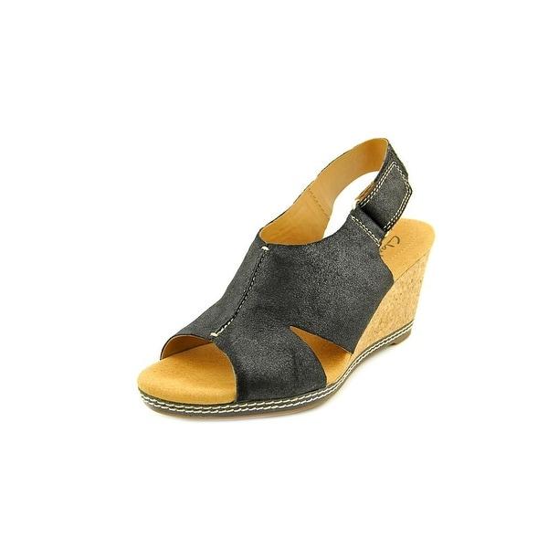 Clarks Narrative Helio Float 4 Women Open Toe Leather Wedge Sandal