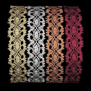 """Set of 1 Shiny Silver Metallic Lace Craft Ribbon 1.375"""" x 20 Yards"""