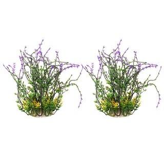 Aquarium Fish Tank Plastic Artificial Underwater Grass Plant Decoration 2 Pcs