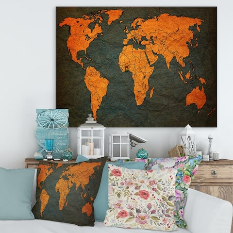 Designart 'Ancient Map of The World Africa' Vintage Canvas Wall Art Print