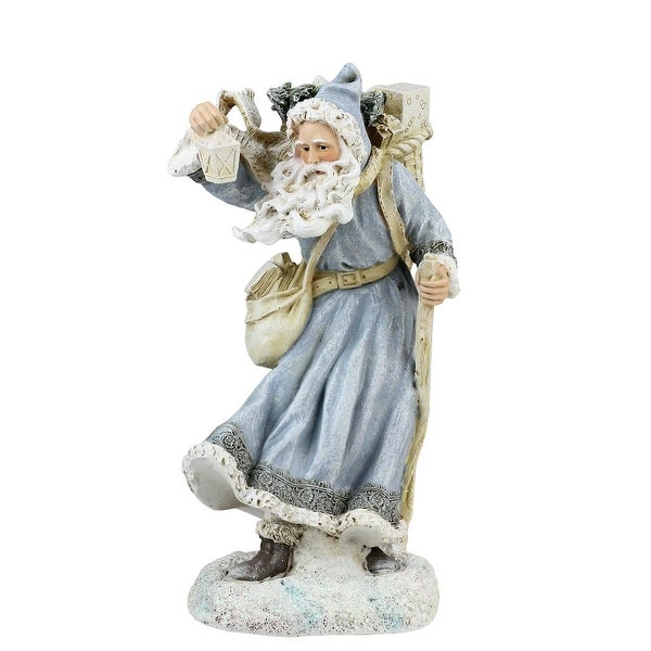 """9"""" Old World Santa in Blue Coat with Staff, Lantern and Bag of Gifts Christmas Decoration"""