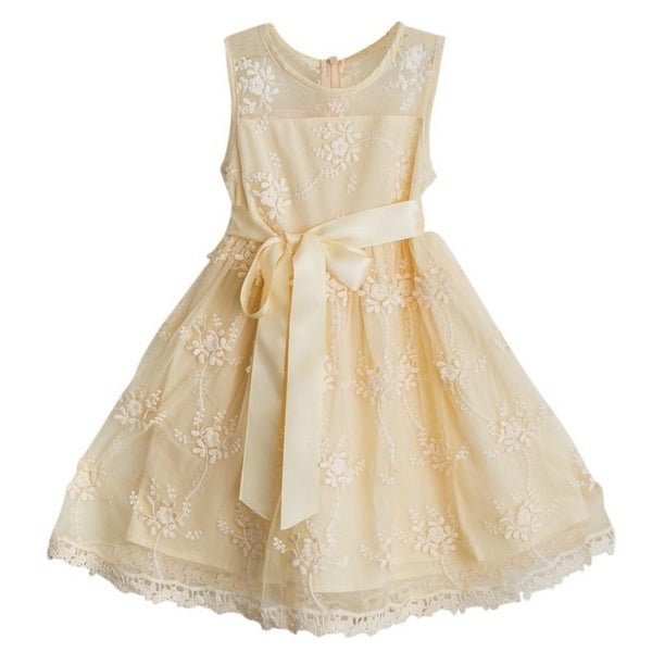 Think Pink Bows Baby Girls Champagne Sash Lace Lizzie Christmas Dress 12-18M
