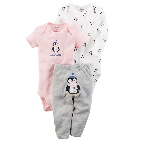 3c059f0fc13 Shop Carter s Baby Girls  3-Piece Turn-Me-Around Pant Set - Penguin  Adorable-6 Months - Free Shipping On Orders Over  45 - Overstock - 20487871