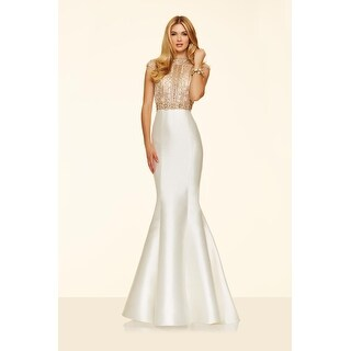 Beaded Satin Cap Sleeve Mermaid