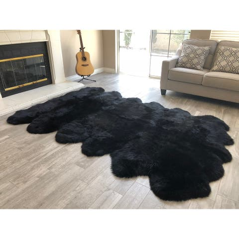 "Dynasty 12-Pelt Luxury Long Wool Sheepskin Black Shag Rug - 5'5"" x 9'2"""