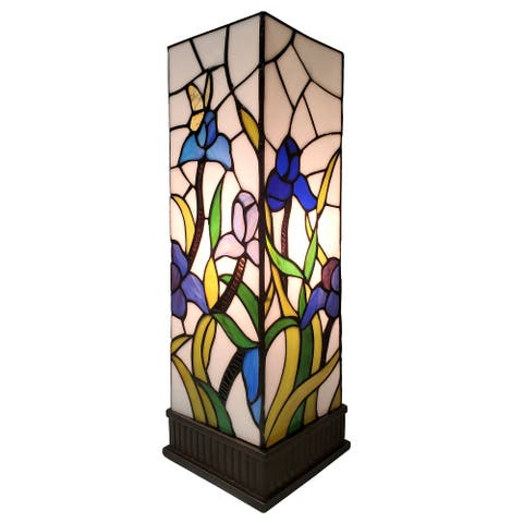 """Tiffany Style Stained Glass Table Lamp 18"""" Tall AM1115TL06B Amora Lighting"""
