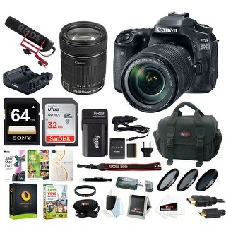 Canon EOS 80D Video Creator Kit w/ 18-135mm Lens, Software & 96GB Deluxe Bundle