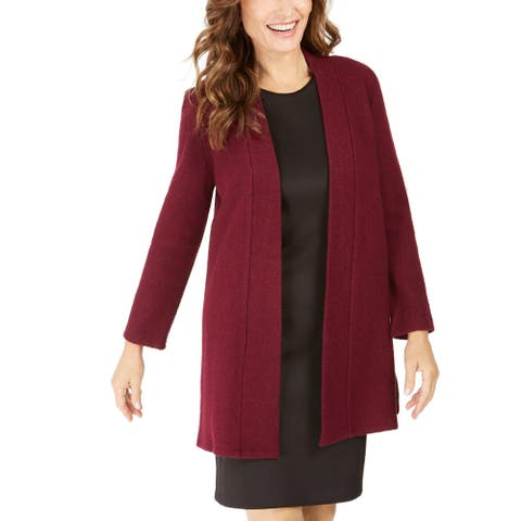 Kasper Womens Cardigan Sweater Open Front Wool Blend - Claret