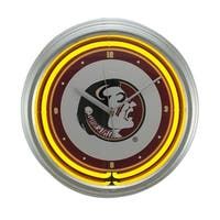 NCAA Florida State Seminoles 15 inch Neon Wall or Tabletop Clock - Yellow