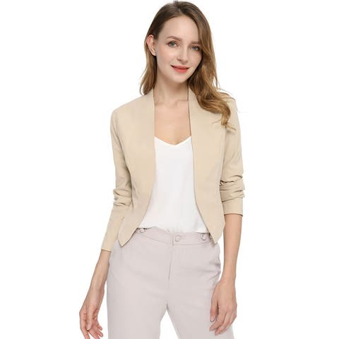 Women Collarless Work Office Business Casual Cropped Blazer