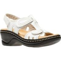 Clarks Women's Lexi Walnut Sandal White Leather