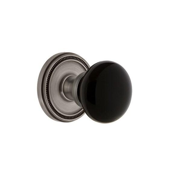 "Grandeur SOLCOV_PRV_234 Soleil Solid Brass Rose Privacy Door Knob Set with Coventry Knob and 2-3/4"" Backset"