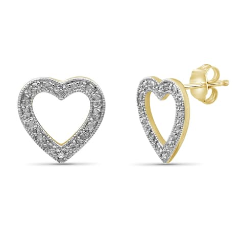 JewelonFire Accent White Diamond Open Heart Earring in Gold over Silver