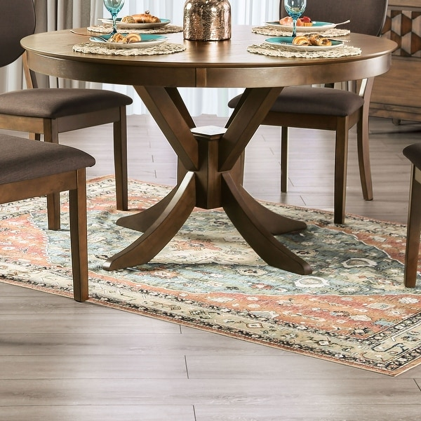 Furniture of America Oskam I Transitional Walnut Round Dining Table. Opens flyout.