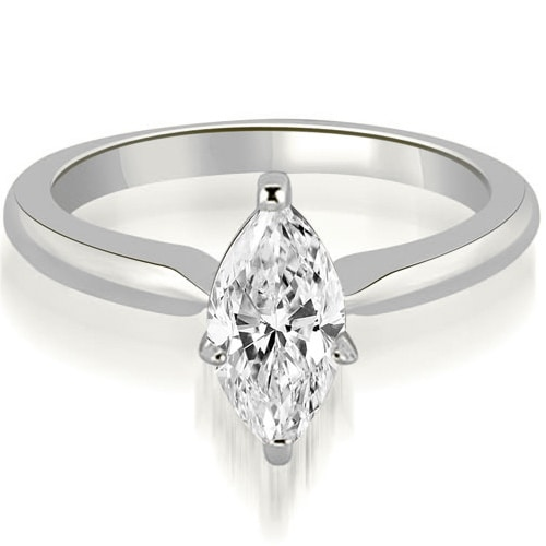 0.75 cttw. 14K White Gold Classic Solitaire Marquise Diamond Engagement Ring