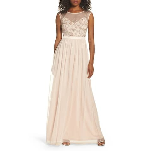 Adrianna Papell Women's Dress Beaded Mesh Gown