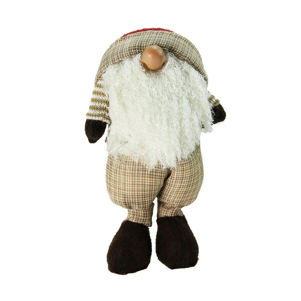 "15.75"" Plush Brown Plaid Nordic Santa Standing Christmas Gnome Tabletop Figure"