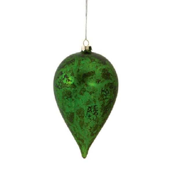 "5.5"" Decorative Distressed Antique Green Glass Christmas Teardrop Ornament"