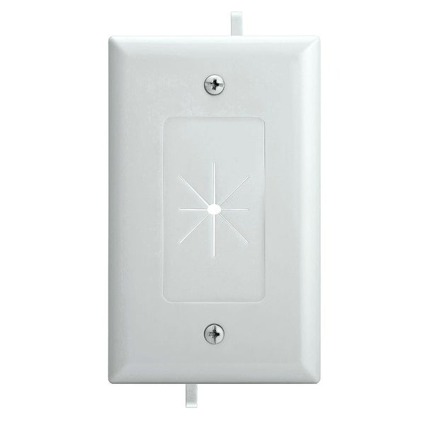DataComm 45-0014-WH One-Gang Low-Voltage Cable Plate With Flexible Opening - White