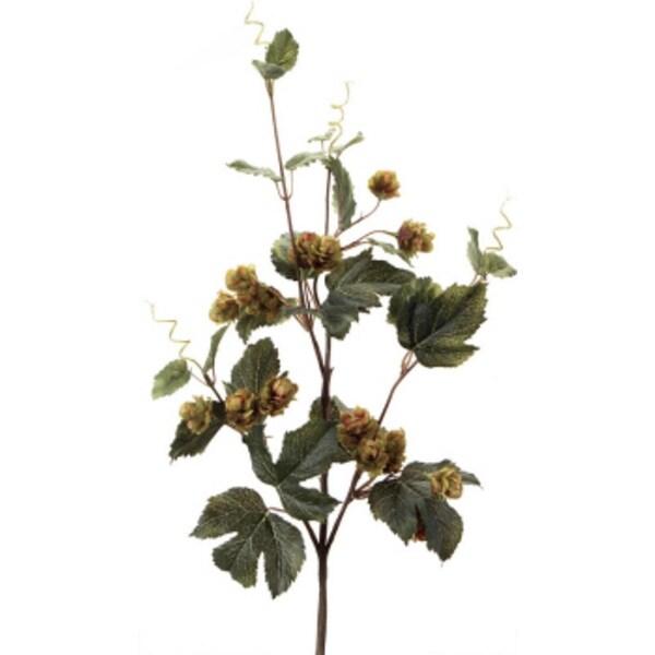"Pack of 6 Decorative Fall Harvest Olive Green Wild Hops Flower Sprays 33"""