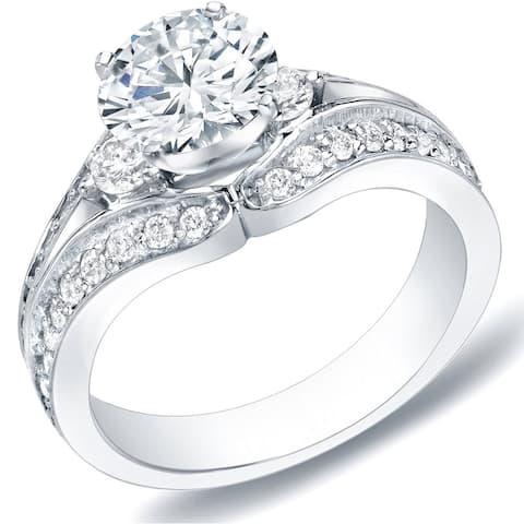 Auriya 14k Gold 1 1/4ctw Modern 3-Stone Diamond Engagement Ring Split-Shank