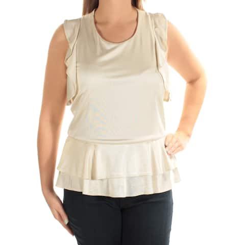 CATHERINE MALANDRINO Womens Beige Sleeveless Scoop Neck Top Size: L