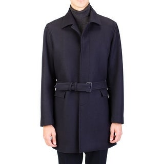 Prada Men's Virgin Wool Trench Coat Jacket Navy Blue