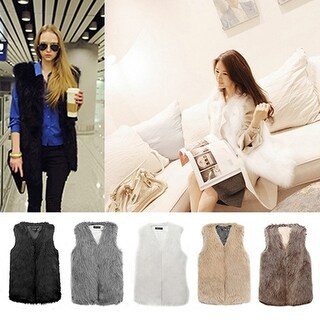Women's Winter Fashion Luxury Faux Fur Vest Sleeveless Coat Outwear Waistcoat