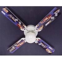 Nascar Race Car Print Blades 42in Ceiling Fan Light Kit - Multi