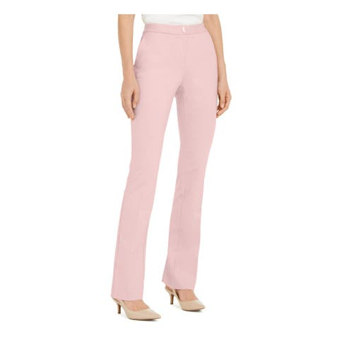 ALFANI Womens Pink Solid Straight leg Pants Size 14