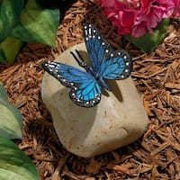 Design Toscano Papilio Ulysses Butterfly on Rock Statue