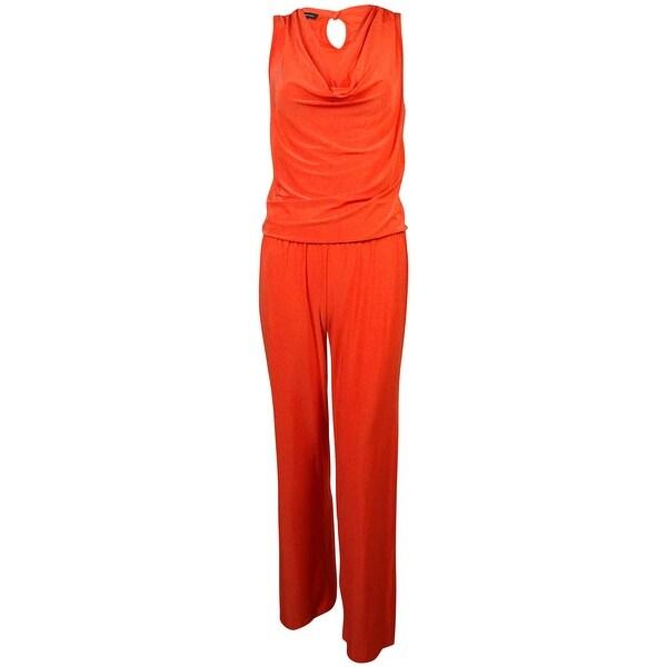INC Women's Cowl Neck Elastic Waist Jumpsuit - papaya punch - s