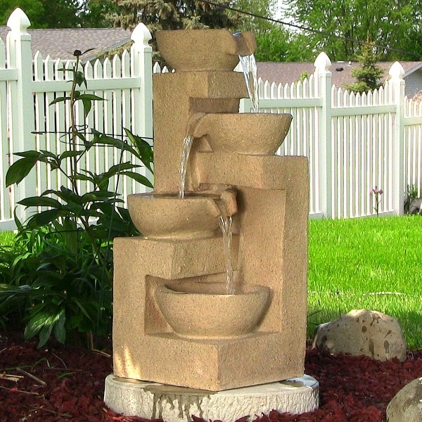 Sunnydaze Four Bowls Cascading Fountain with LED Lights 31 Inch Tall