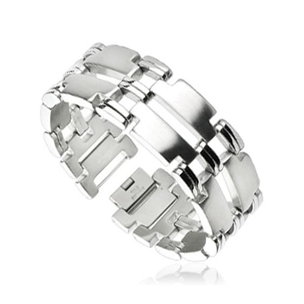 Stainless Steel Duo Band Mirrored T Links Bracelet (25 mm) - 9 in