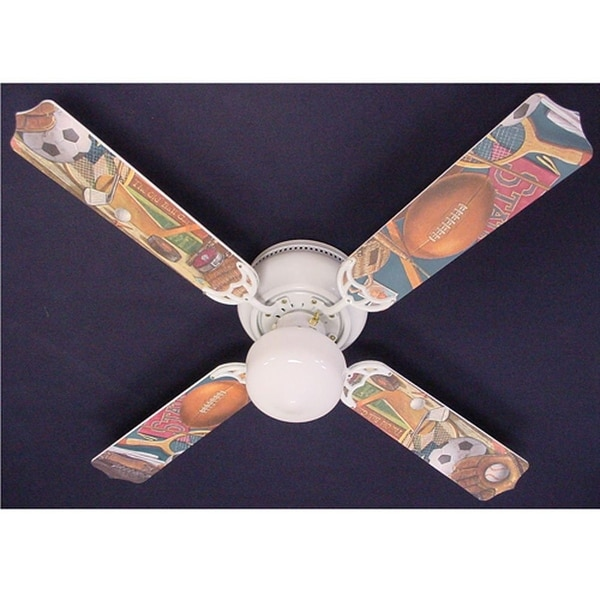 Classic Sports Print Blades 42in Ceiling Fan Light Kit - Multi
