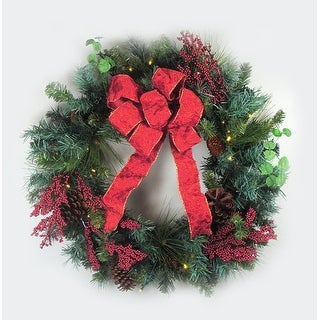 "24"" Pre-Lit LED Pre-Decorated Pine Cone Berry Artificial Christmas Wreath -Clear"