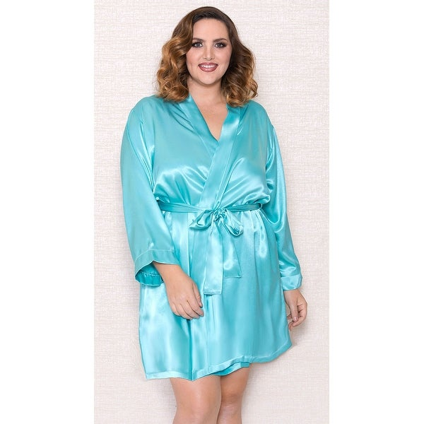 Plus Size Basic Satin Robe