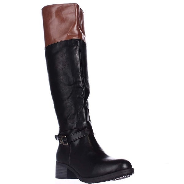 Rampage Imelda Knee-High Riding Boots, Black/cognac