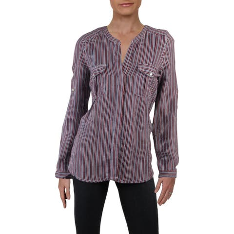 4Our Dreamers Womens Button-Down Top Woven Striped - Navy/Red/White - M