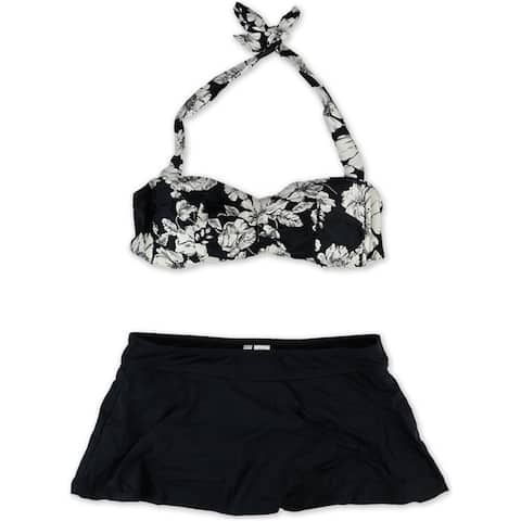 Anne Cole Womens Floral Skirt 2 Piece Bikini, black, X-Large