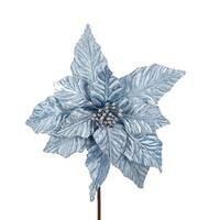 """Pack of 12 Glitter Embellished Silverish Blue Poinsettia Christmas Floral Craft Picks 20"""""""